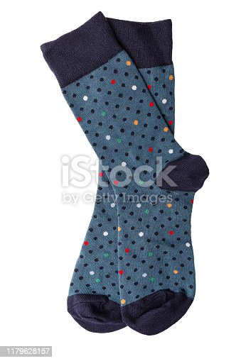 the new beautiful colorful funny cotton men's socks isolated on white background