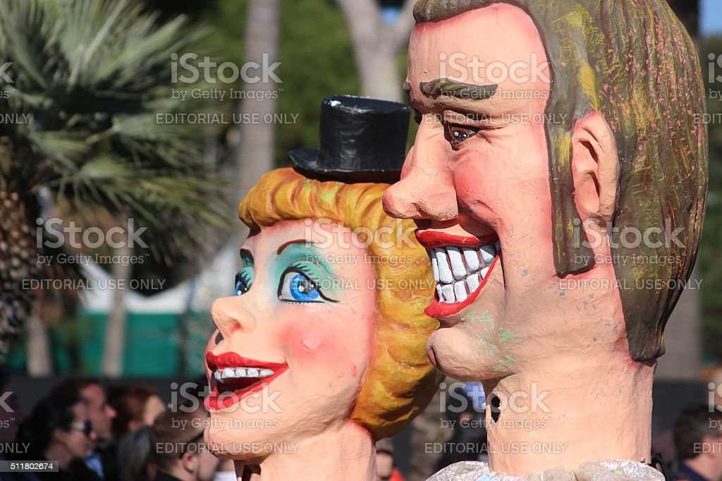 Funny Couple - Carnival of Nice 2016 stock photo