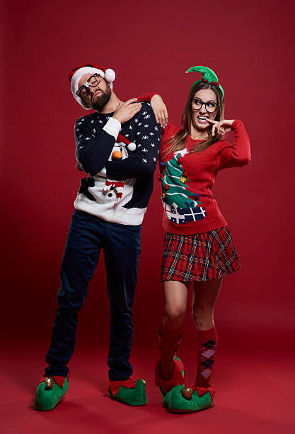 Funny Couple In Christmas Time Stock Photo More Pictures Of Adult
