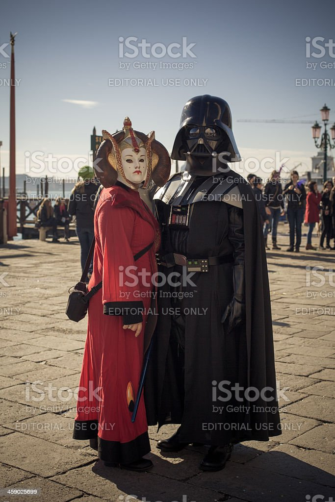 Funny Couple Masked at Venice Carnival 2013 stock photo