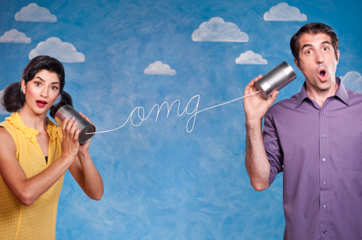 Funny Couple With Tin Can Telephones Stock Photo - Download Image Now