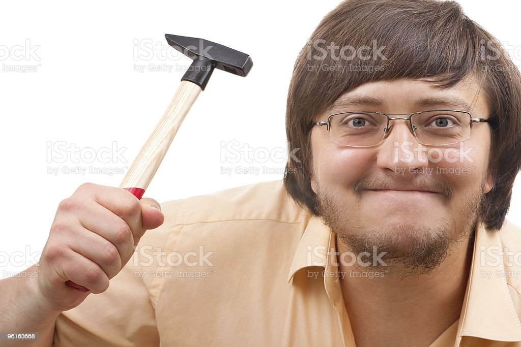 Funny crazy guy with a hammer royalty-free stock photo