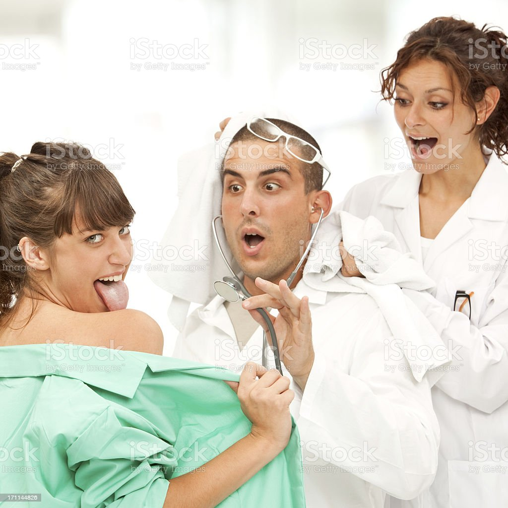 Funny Adult Sexy Video funny crazy hospital doctor and sexy nurse stock photo