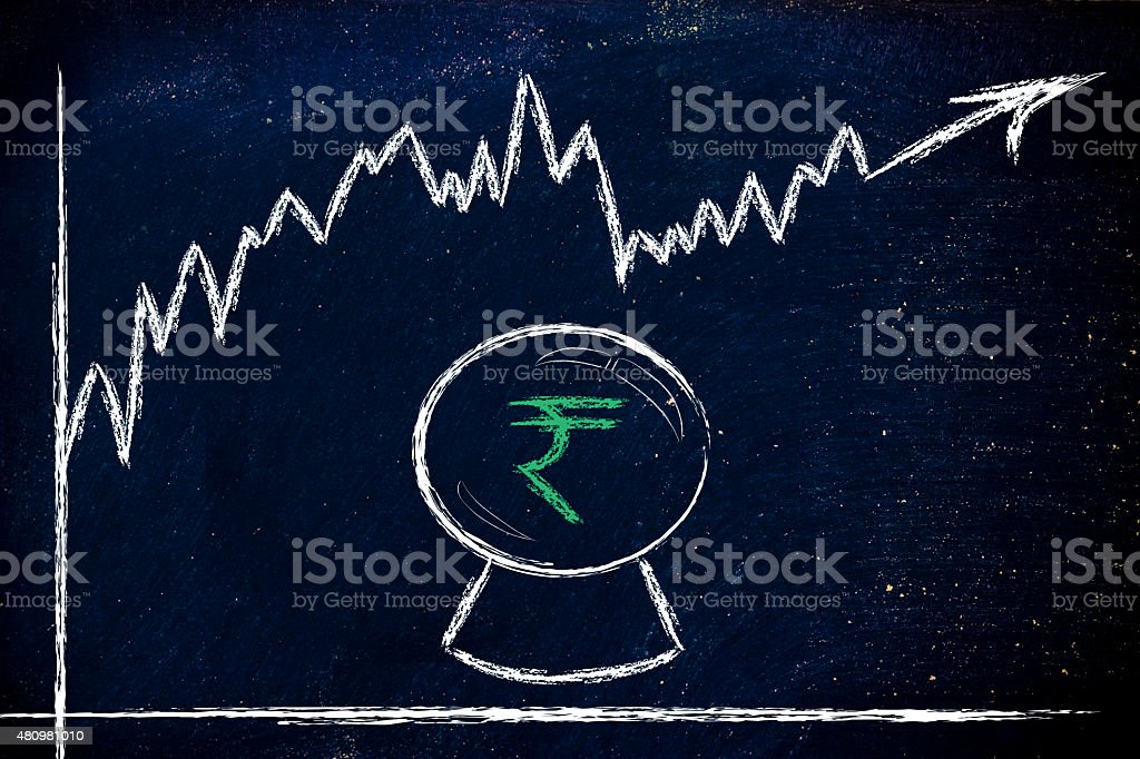 funny crystal ball and rupee exchange rate stock photo