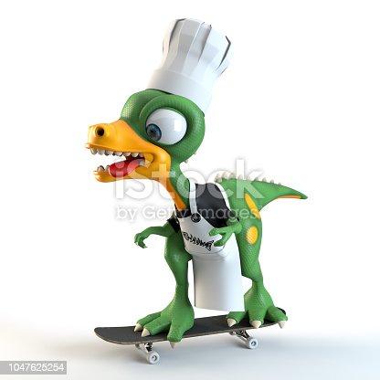istock funny dinosaur cook 1047625254