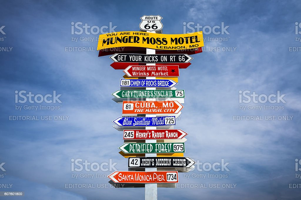 Funny direction signpost  in Lebanon, Missouri stock photo