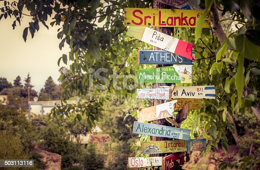 istock Funny directions signpost 503113116