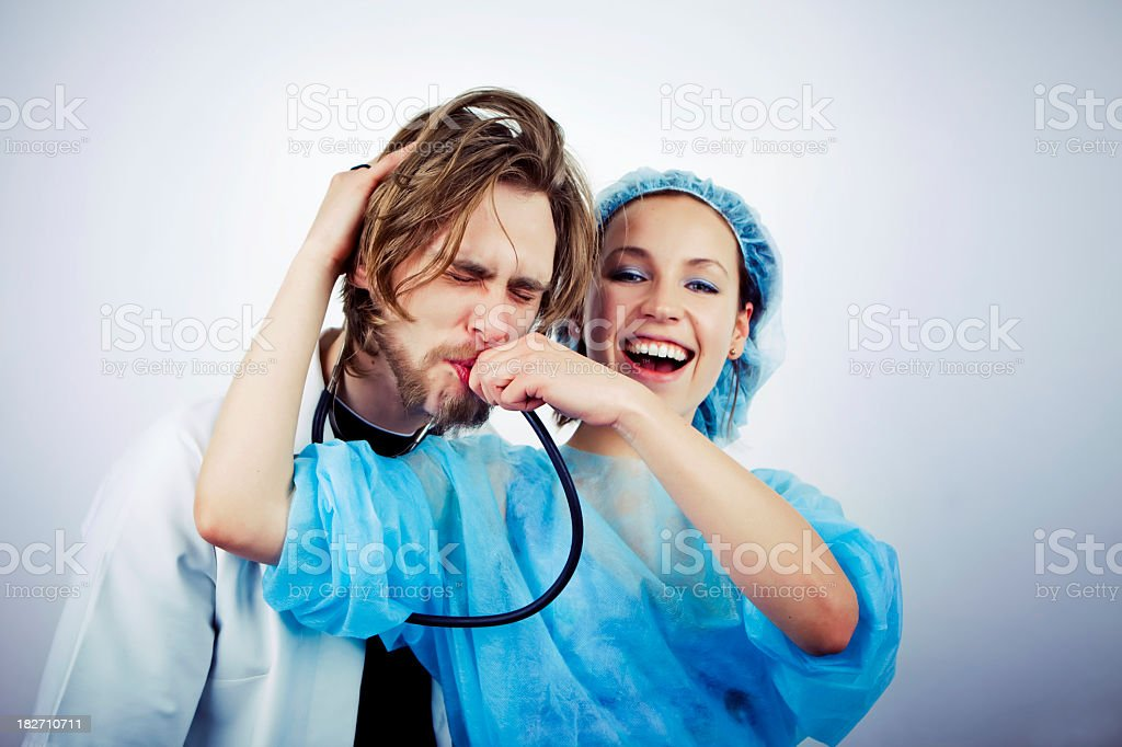 Funny doctor couple royalty-free stock photo