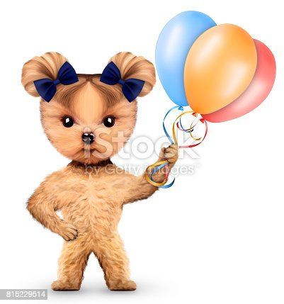 815229514 istock photo Funny dog holding colorful balloons 815229514