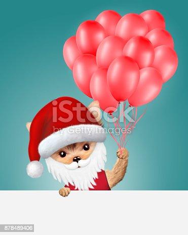 istock Funny Dog Santa with balloons. Christmas concept 878489406