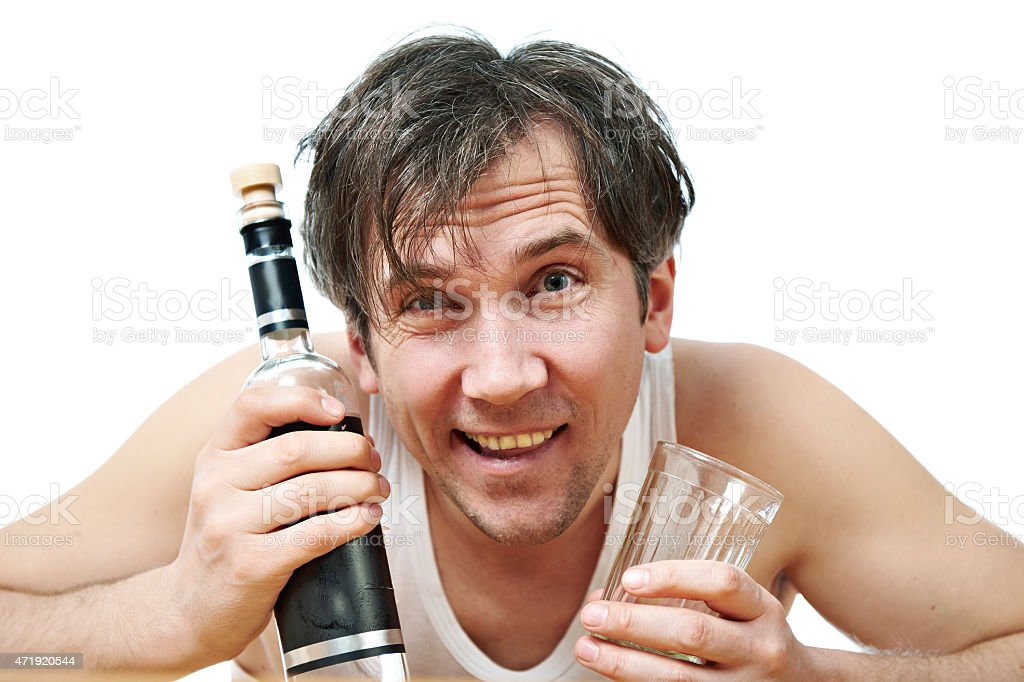 Funny Drunk Man With Bottle Of Vodka And Glass Closeup Stock Photo