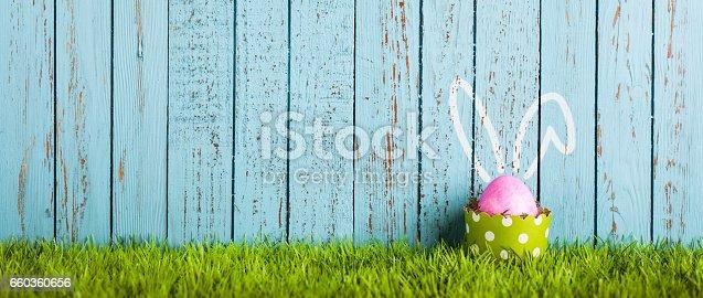 istock Funny Easter Egg in Cake Pan - Rabbit Ears Humor 660360656