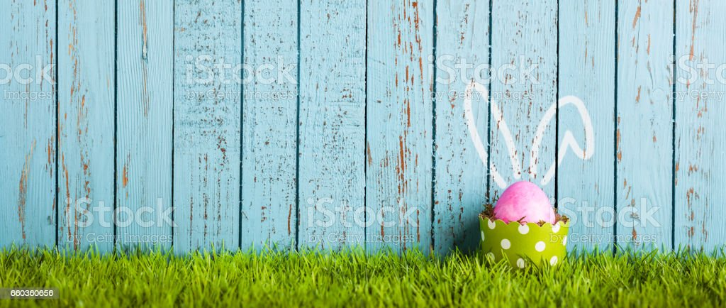 Funny Easter Egg in Cake Pan - Rabbit Ears Humor stock photo
