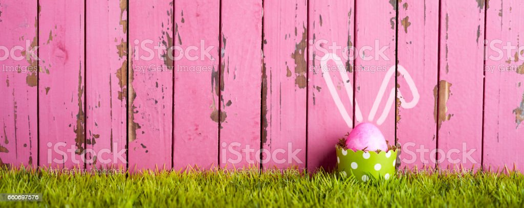 Photography of an easter egg decoration. Shifted multi photo stich.