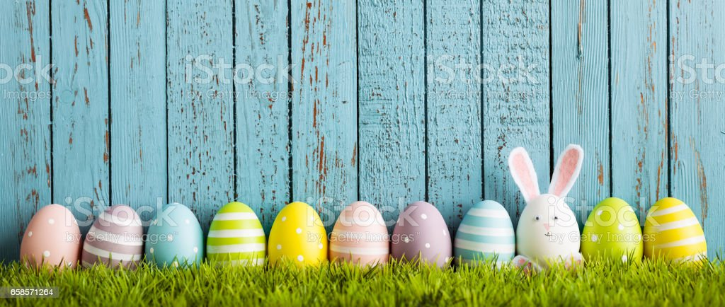 Funny Easter Egg Rabbit on grass stock photo