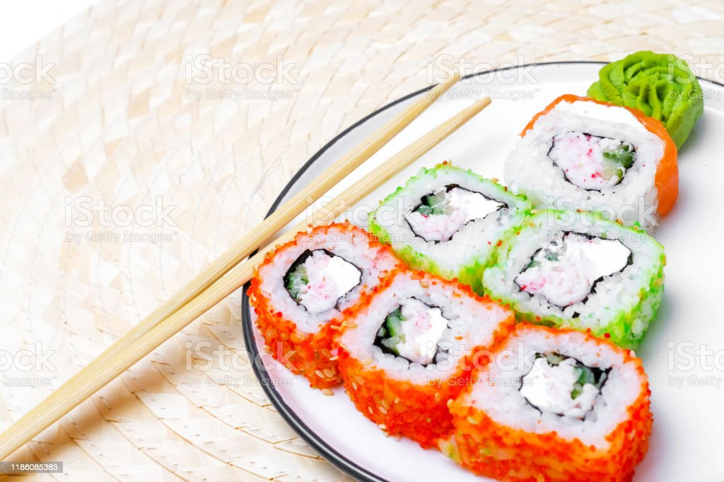 Funny Edible Christmas Tree Made From Sushi Creative Idea For Japanese Restaurant New Year Food Background Top View Holiday Celebration Food Art Concept Copyspace Stock Photo Download Image Now Istock