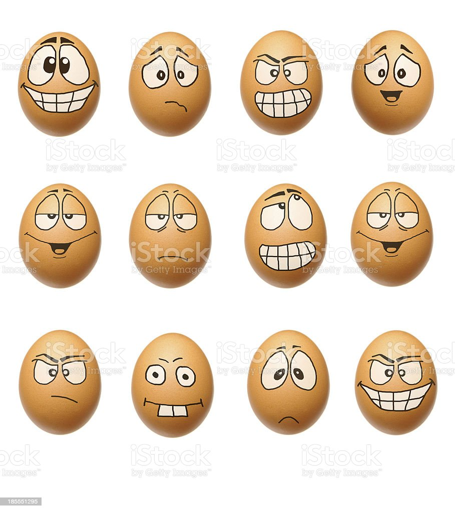 Funny eggs collection stock photo