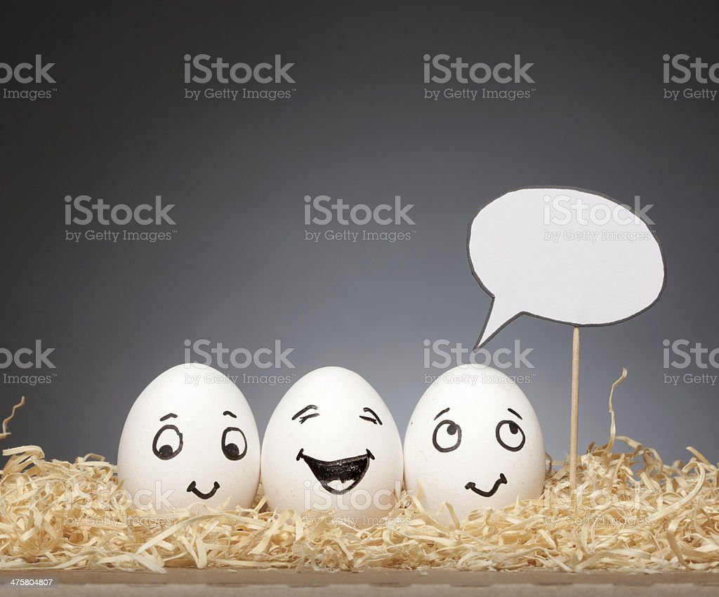 Funny Eggs Stories with Speech Bubbles - Happy stock photo