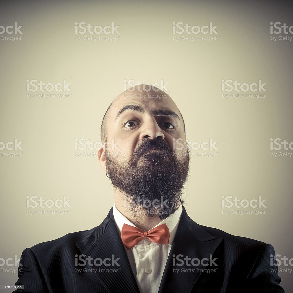funny elegant bearded man stock photo