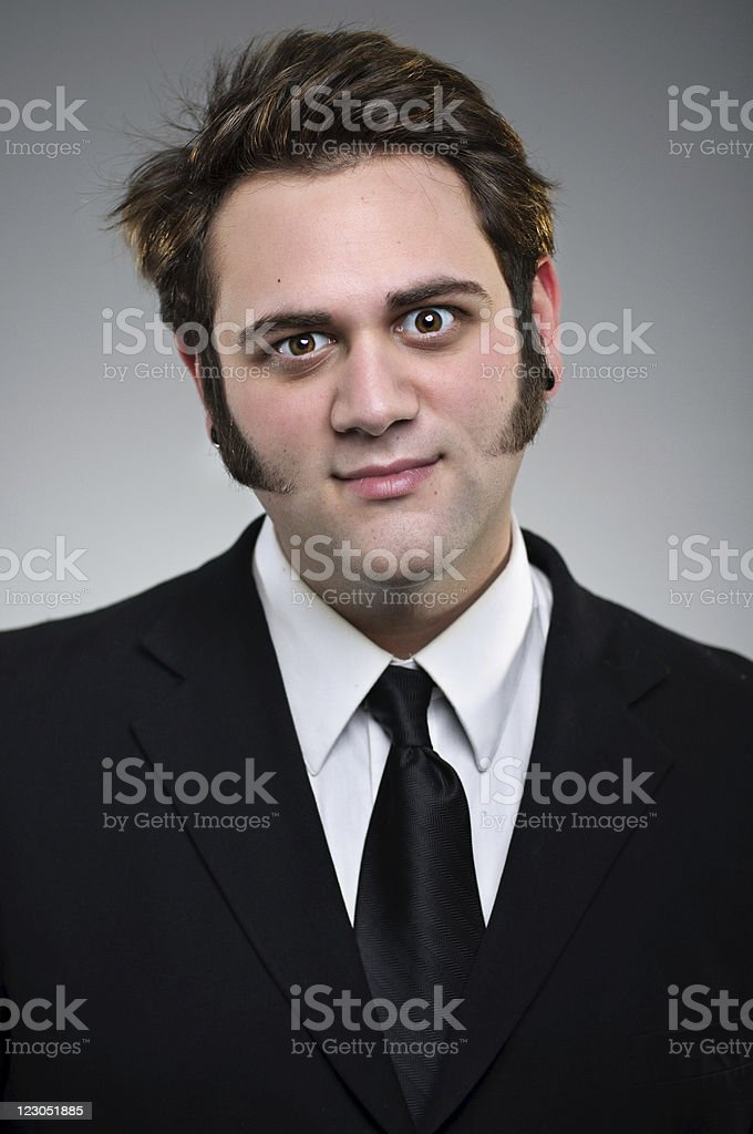 Funny Expression Young Businessman Portrait stock photo