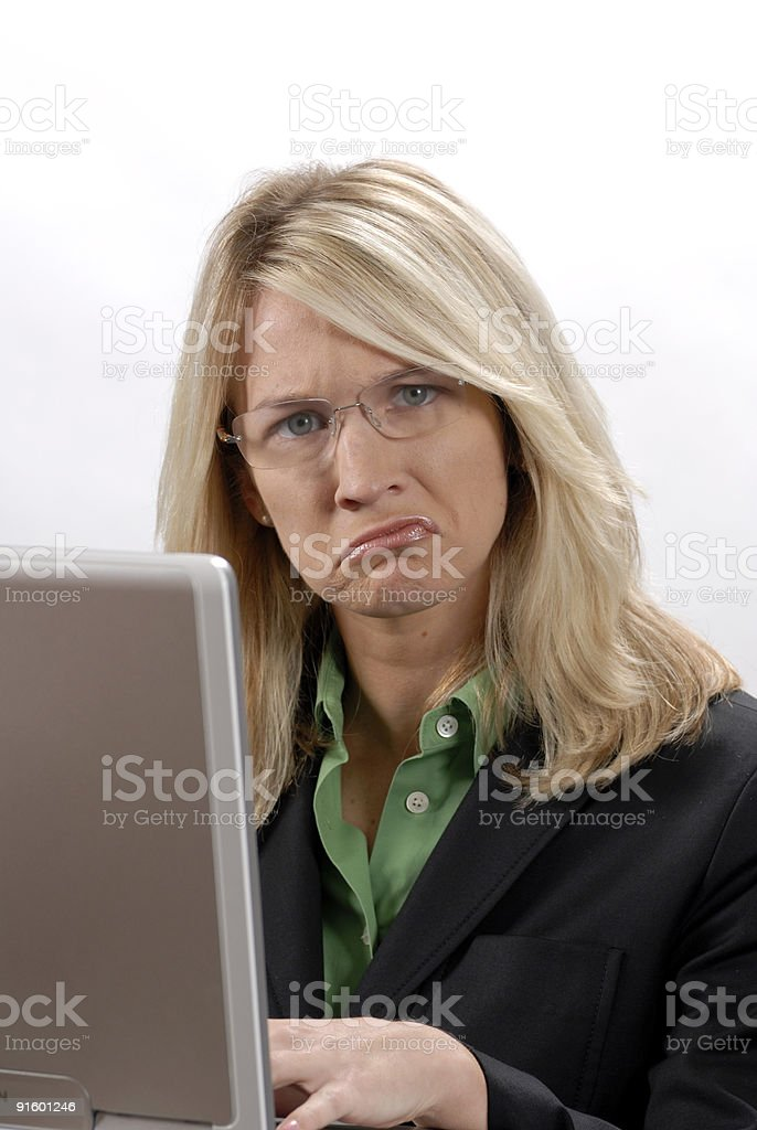 Funny Face from Girl at computer stock photo