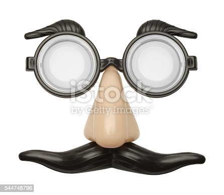 Funny Nose, Glasses and Mustache Disguise Front View Isolated on a White Background.