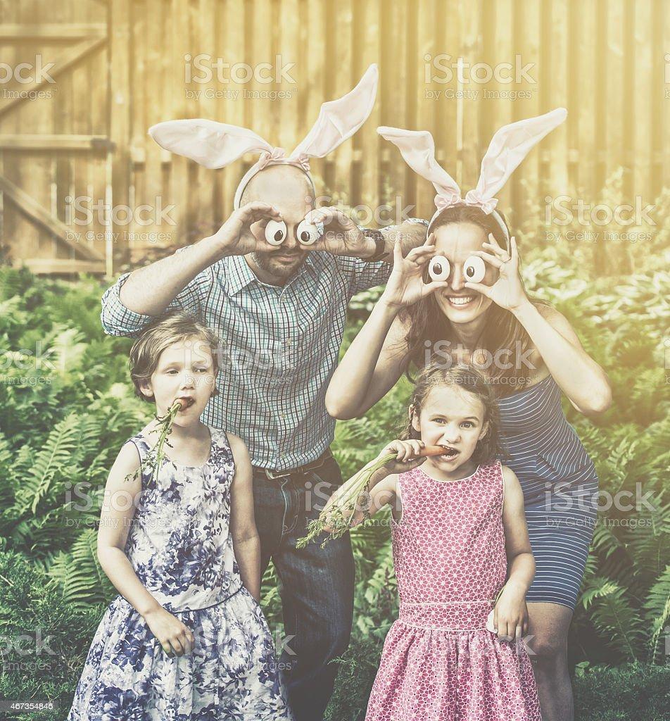 Funny Family Easter Portrait - Retro stock photo