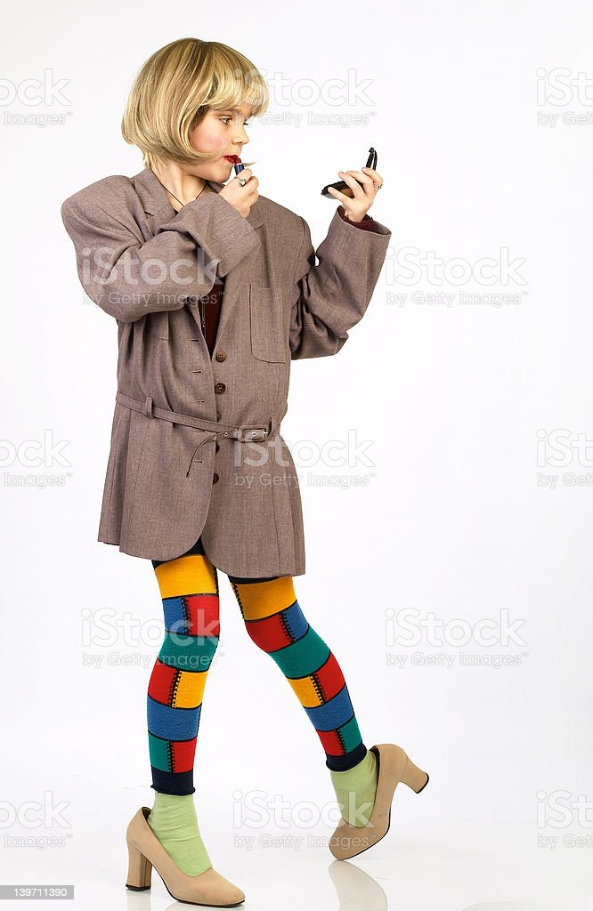 Funny fashionable little girl. royalty-free stock photo