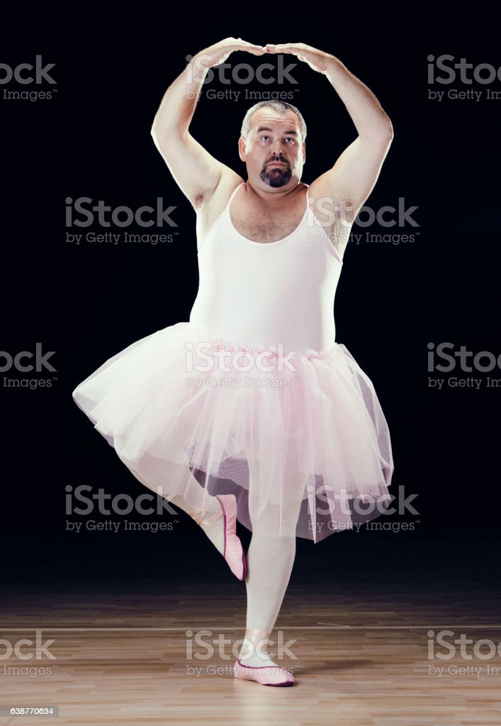 funny fat classical dancer on black background funny fat classical dancer on black background Adult Stock Photo