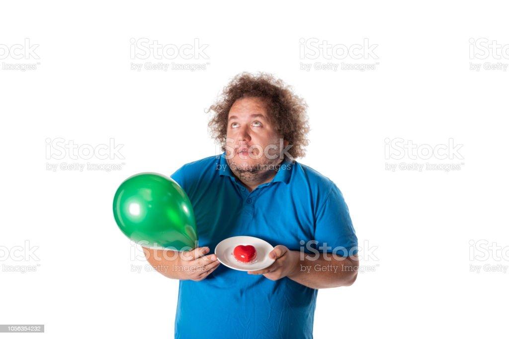 Lustige Dicker Mann Mit Torte Und Luftballons Herzlichen Glückwunsch