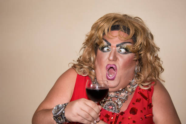 funny fat woman and red wine. - funny fat lady stock photos and pictures