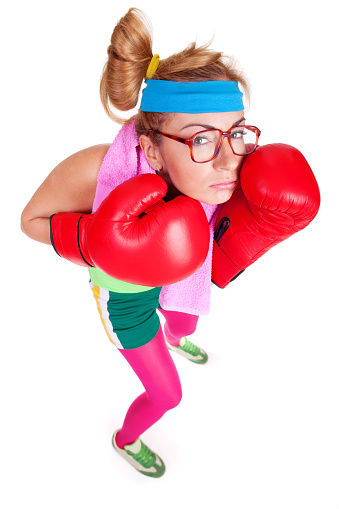 Funny Female Boxer With Defensive Boxing Stance Stock