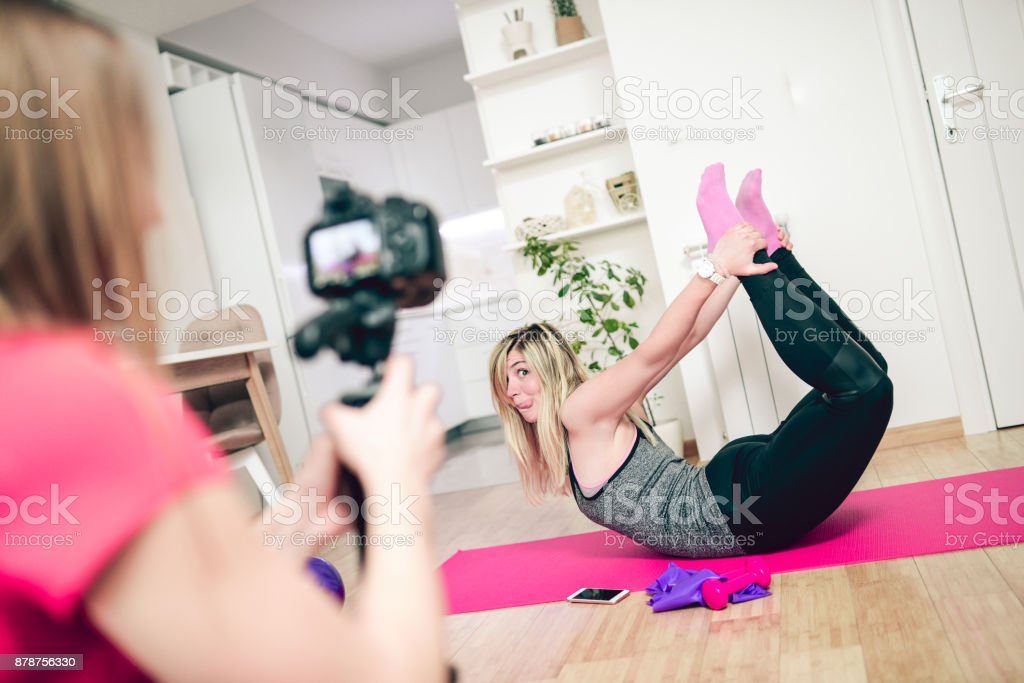 Funny Female Friends Making Vlog at Home in the Morning stock photo