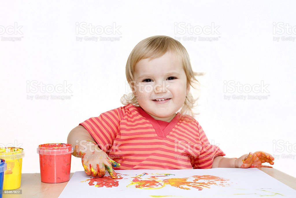 Funny fingerpainting royalty-free stock photo