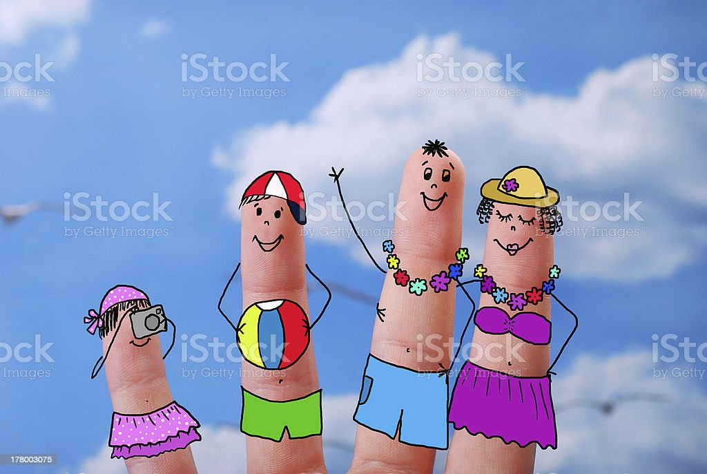 funny fingers  with family on summer holiday royalty-free stock photo