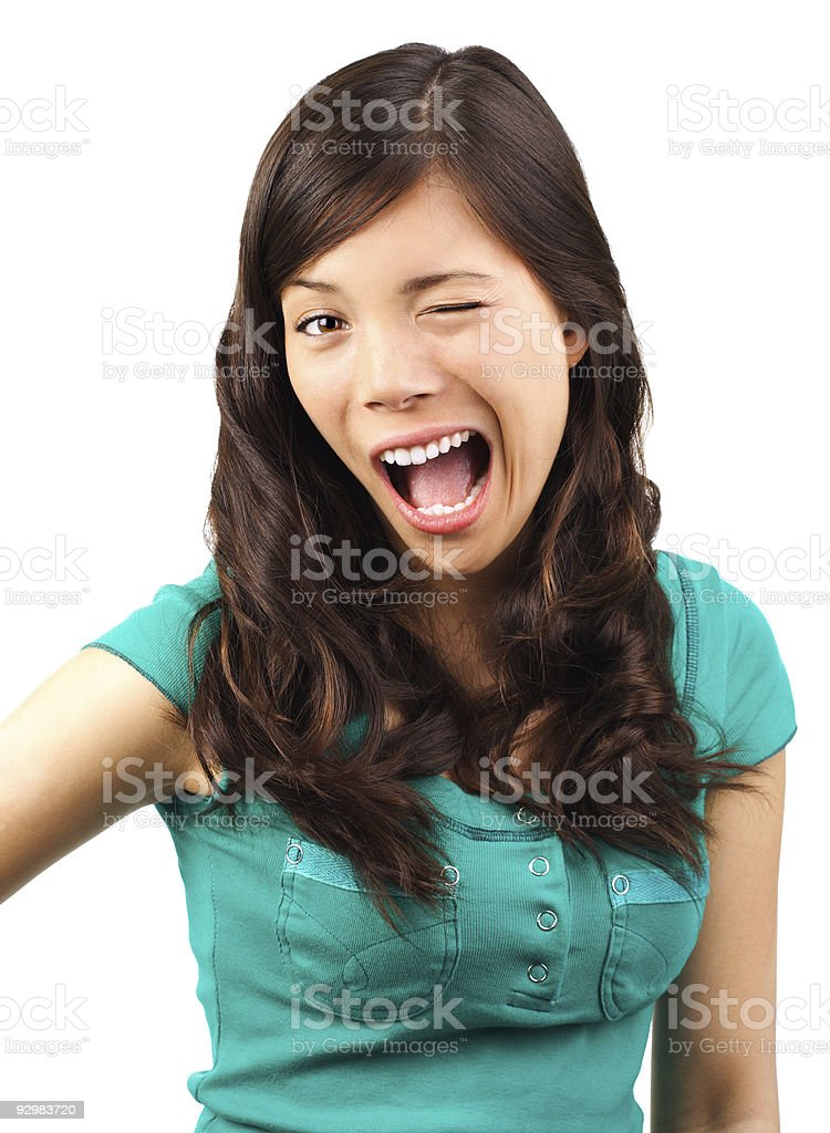 Funny flirting woman stock photo