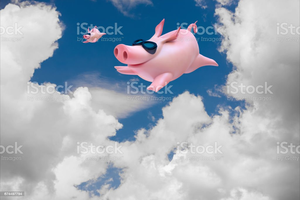 Funny flying piggies. Sky divers stock photo