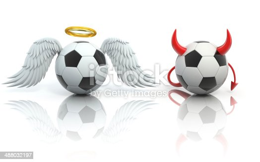 istock funny football 3d concept - angel and devil soccer balls 488032197