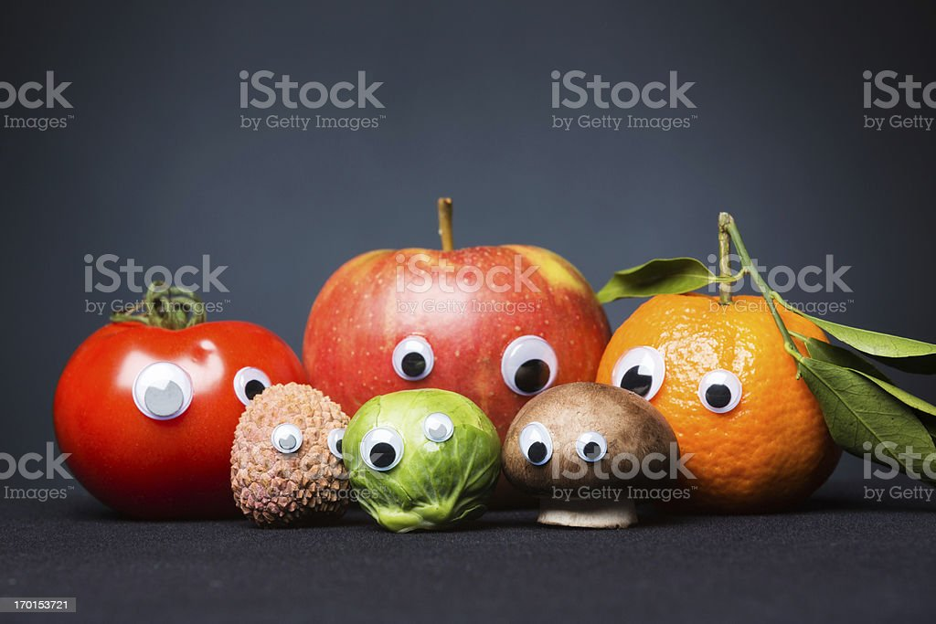 funny fruit and vegetables with eyes royalty-free stock photo