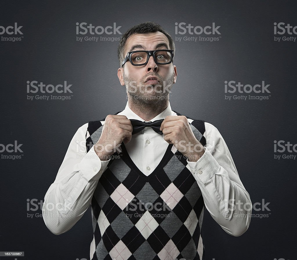 Funny fshion nerd stock photo