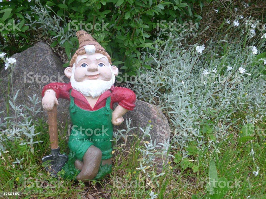 Funny Garden Gnome during gardening royalty-free stock photo