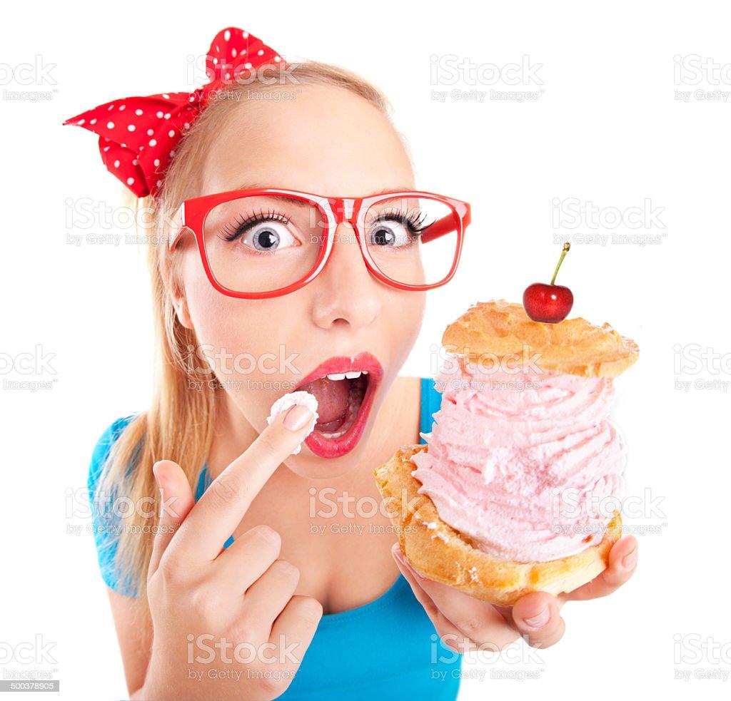 Funny girl eating. stock photo