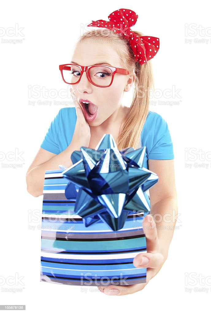 Funny girl excited by getting a present royalty-free stock photo