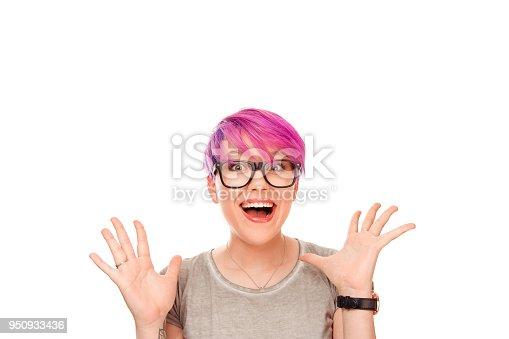 istock funny girl looking surprised in full disbelief wide open mouth hands in air 950933436