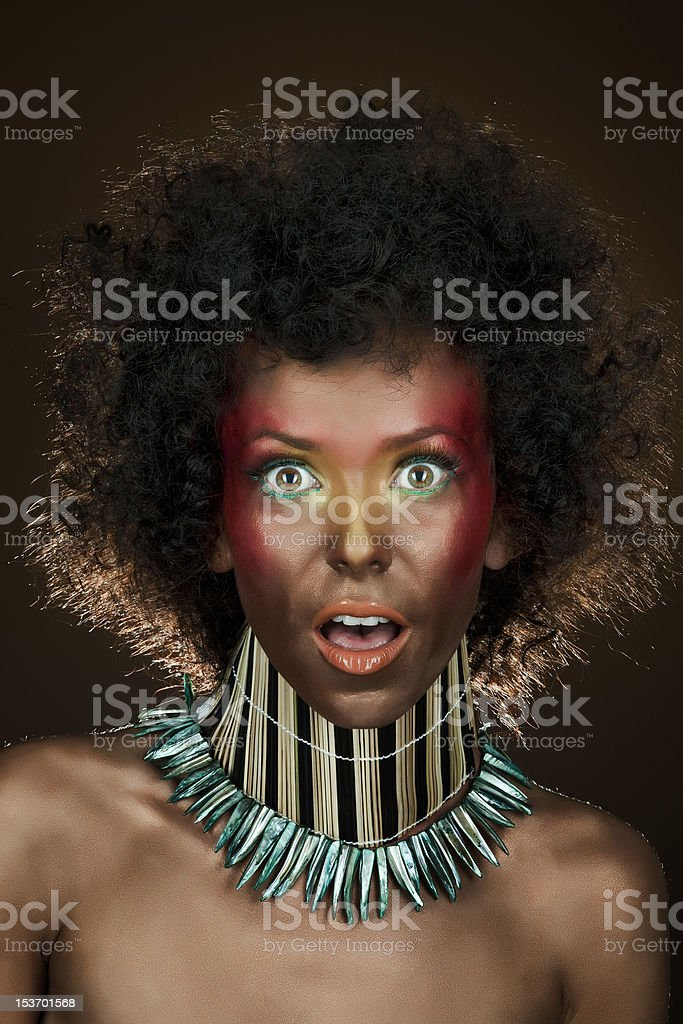 funny girl with afro hair royalty-free stock photo