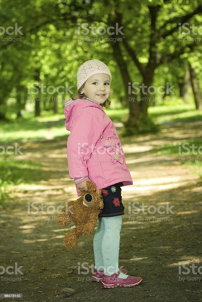 funny girl with bear toy royalty-free stock photo
