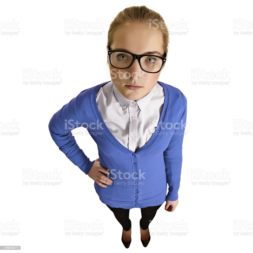Funny girl with big glasses on white royalty-free stock photo