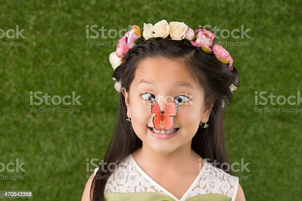 Funny girl with butterfly on nose picture id470543358?b=1&k=6&m=470543358&s=612x612&h=nprcgmrccfizusncbpdmf ooz2smowbje0 rh flqis=