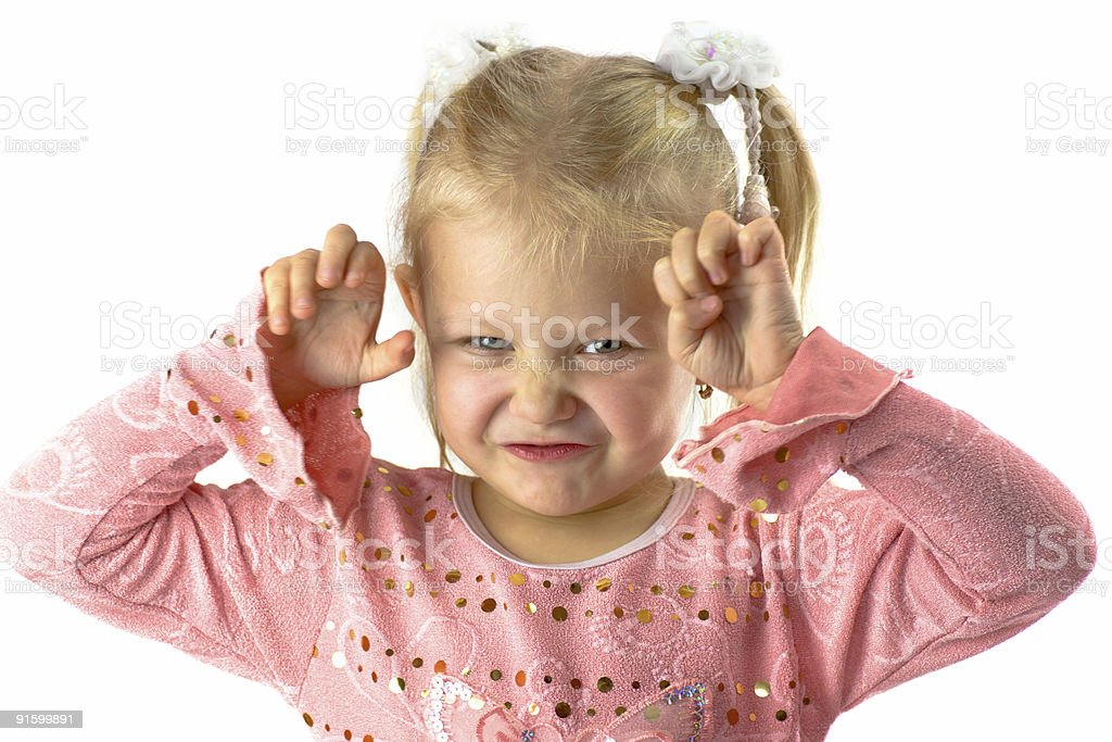 Funny girl with scary face royalty-free stock photo