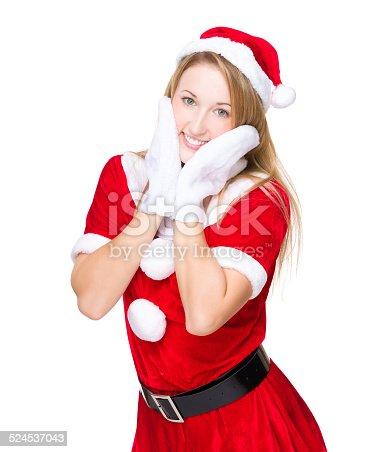 istock Funny girl with xmas party costume 524537043